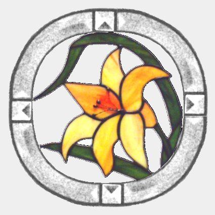 Lilie m. Bevelrand - Tiffanytechnik