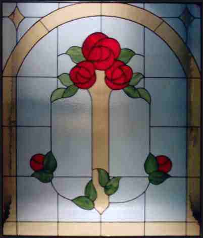 Fenster-3 Rosen -Tiffany Glasdesign